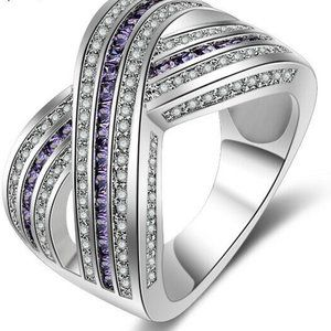 Jewelry - Amethyst and Diamond Wide Band Silver Ring